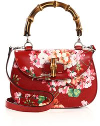 Gucci | Bamboo Classic Blooms Top-handle Bag | Lyst