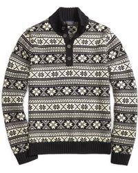 Brooks Brothers Merino Wool Fair Isle Mockneck Sweater - Lyst
