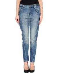 Pinko Blue Denim Trousers - Lyst