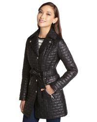Laundry by Shelli Segal - Black Quilted Down Belted Doublebreast Trench - Lyst