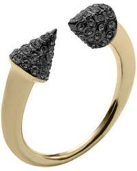 Michael Kors Pavé Gold-Tone Arrow Ring - Lyst