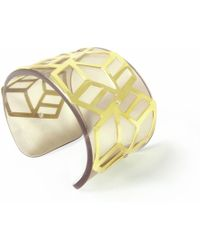 Anna Byers - Wide Perspex Cuff Tinted Grey & Gold - Lyst