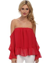T-bags Ruffle Off The Shoulder Top - Lyst