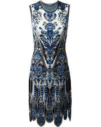 Roberto Cavalli Scalloped Hem Printed Dress - Lyst
