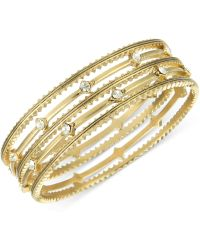 The Sak Gold-Tone Crystal Accent Textured Bangle Bracelets - Lyst
