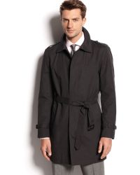 Kenneth Cole New York Black Singlebreasted Trench Coat - Lyst