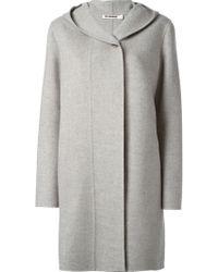 Jil Sander Gray Hooded Coat - Lyst