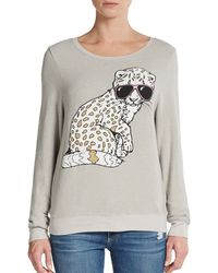 Wildfox Leopard Graphic Top - Lyst