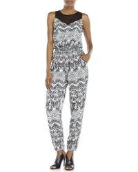 Rampage Black & White Printed Tapered Leg Jumpsuit black - Lyst