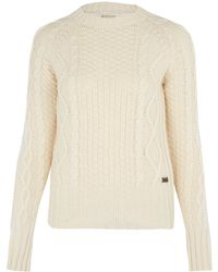 Barbour Cream Cable Knit Jumper - Lyst