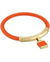 Michael Kors Leather With Foil Logo Padlock Bracelet - Lyst