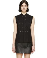 Diesel Black Gold Black Studded And Pleated Cefet Shirt - Lyst
