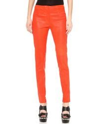 CoSTUME NATIONAL | Leather Straight Pants Rosso | Lyst
