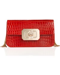 Marchesa Phoebe Large Crocodile Shoulder Bag Scarlet - Lyst