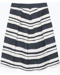 Zara Striped Pleated Skirt - Lyst