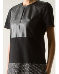 Prabal Gurung Black Bimaterial Cotton and Leather Dress - Lyst
