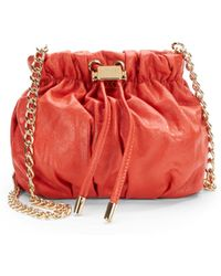 Badgley Mischka Melanie Goldtone Drawstring Leather Pouch - Lyst