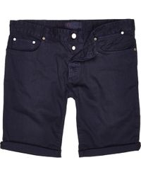 River Island Blue Denim Rolled Up Shorts - Lyst