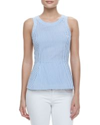 Theory Ballise Striped Sleeveless Peplum Top Bluewhite - Lyst