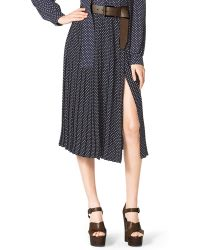 Michael Kors Polka-Dot Pleated Skirt - Lyst