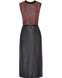 Victoria, Victoria Beckham Belted Two Tone Lamé Dress - Lyst