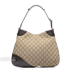 Gucci Preowned Beige Monogram Canvas Webbed Hasler Horsebit Hobo Bag - Lyst