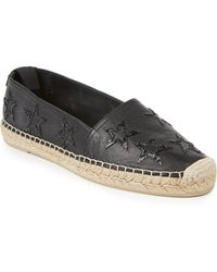Saint Laurent Sequined Star-Embroidered Leather Espadrilles black - Lyst