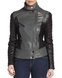 Badgley Mischka Sydney Colorblock Leather Jacket - Lyst