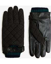 Ted Baker - Quilted Fabric And Leather Gloves - Lyst