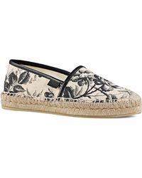 Gucci | Pilar Floral Canvas Platform Espadrille Flats | Lyst