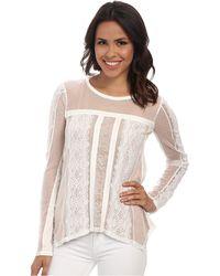 BCBGMAXAZRIA Addyson Lace Blocked Long Sleeve Shirt - Lyst