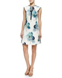 Tory Burch Edith Floral-print Flare Dress - Lyst