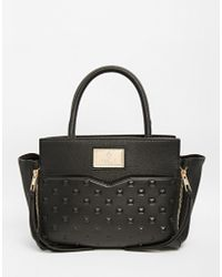 Lipsy - Black Studded Wing Tote - Lyst