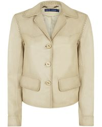 Ralph Lauren Blue Label Stitched Seam Leather Jacket - Lyst