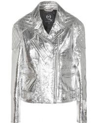 McQ by Alexander McQueen Metallic Leather Jacket - Lyst