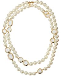 Kate Spade Faux Pearl  Crystal Necklace - Lyst