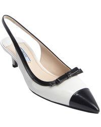 Prada White and Black Leather Pointed Toe Kitten Heel Slingbacks - Lyst