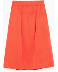 Zara Full Skirt With Elastic Waist - Lyst