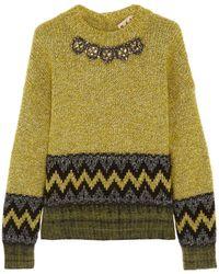 Marni Crystal-Embellished Wool-Blend Sweater - Lyst