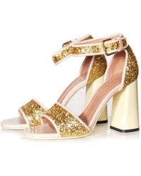 Marni | High Block Heel Sandal In Gold Sand - Pre-order | Lyst