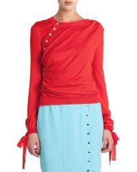 Nina Ricci Wool/Silk Side-Button Sweater W/ Tie Cuffs - Lyst