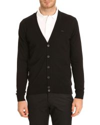 Lacoste Lambswool Black Cardigan with Toneontone Crocodile Logo - Lyst