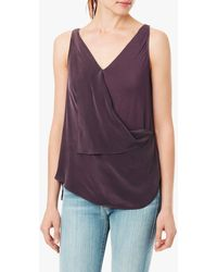 7 For All Mankind Draped Vneck Tank - Lyst