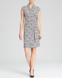 Karen Kane Printed Cascade Faux Wrap Dress - Lyst