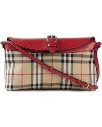 Burberry Haymarket-Check Leather-Blend Satchel - Lyst