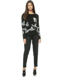 Alice + Olivia Alice  Olivia Embellished Butterfly Sweater - Blackwhite - Lyst