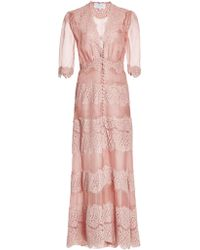Luisa Beccaria Short Floral Sleeved Gown - Lyst