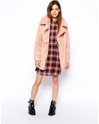 Asos Faux Fur Coat in Teddy Texture - Lyst