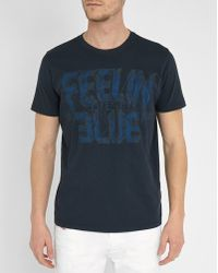 DIESEL | Navy T-joe Aa Printed Round-neck T-shirt | Lyst