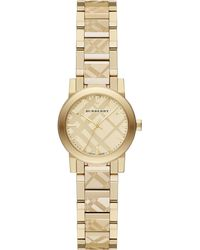 Burberry Goldtone Ip Stainless Steel Check Etched Bracelet Watch26mm - Lyst